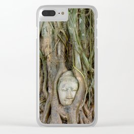 Buddha Head in Tree Roots Clear iPhone Case