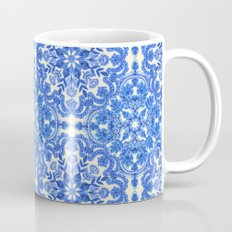 Cobalt Blue & China White Folk Art Pattern Mug