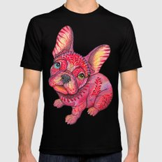 Raspberry frenchie Mens Fitted Tee Black LARGE