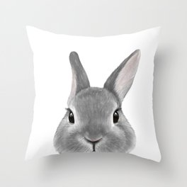 Netherland Dwarf rabbit Grey, illustration original painting print Throw Pillow