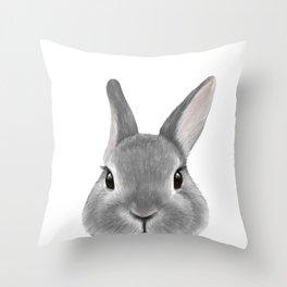 Netherland Dwarf rabbit Grey, illustration original painting print Throw Pillow