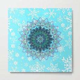 Mandala in snowflake Metal Print