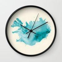 iceland Wall Clocks featuring Iceland by Kristjan Lyngmo