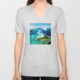 """French Polynesia's Secluded """"Secret Island"""": Aerial View Unisex V-Neck"""