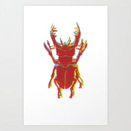 Stag Beetle Tricolore lino cut Art Print