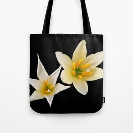 White flowers with black Tote Bag