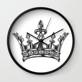 Vintage Queen Royal Crown. Black and White. Art Print Wall Clock