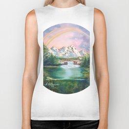 Rainbow in mountains. landscape art Biker Tank
