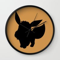 eevee Wall Clocks featuring Eevee Silhouette  by Jessica Wray