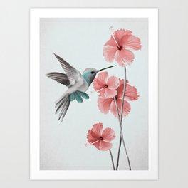 Hummingbird with Hibiscus Art Print