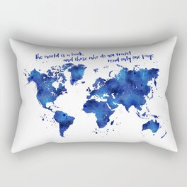 The world is a book, world map in shades of blue watercolor Rectangular Pillow