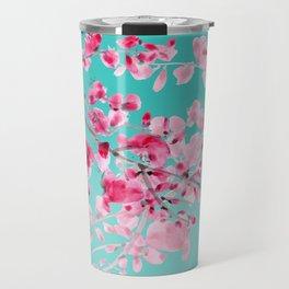 Cherry Blossom Aqua Travel Mug