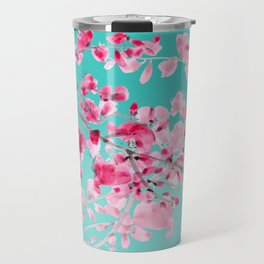 Cherry Blossom Aqua Travel Mug