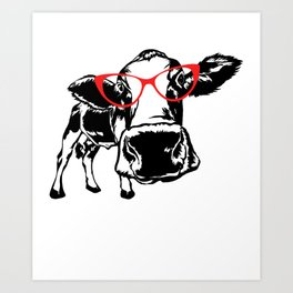 Cow with Glasses Funny CowFarming Cow Style Cow Animal Cut File Cow Art Print