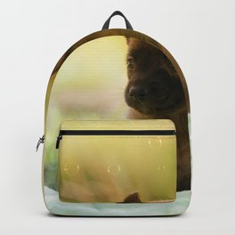 Malinois puppies in the soap blowing game Backpack