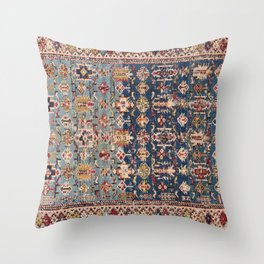Dusty Blue Green Kuba 19th Century Authentic Colorful Yellow Bands Vintage Patterns Throw Pillow