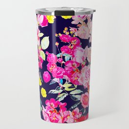 Summer Bright Antique Floral Print with Hot Pink, Yellow, and Navy V2 Travel Mug