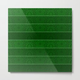 Green Snowflake Stripes Metal Print