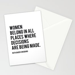 Women Belong In All Places, Ruth Bader Ginsburg, RBG, Motivational Quote Stationery Cards