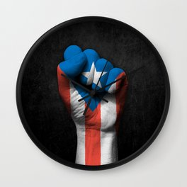 Puerto Rican Flag on a Raised Clenched Fist Wall Clock