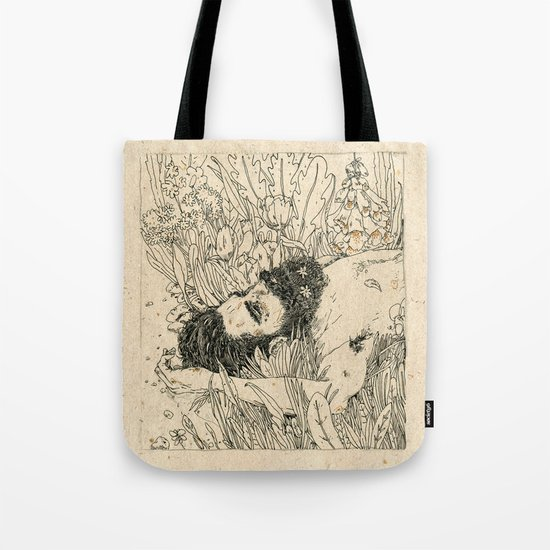 Drowning in foxdowns. Tote Bag