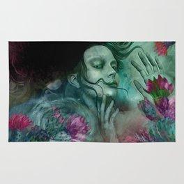 """""""Sirena between pastel cactus flowers"""" Rug"""