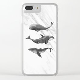 Ocean Whales Marble Black and White Clear iPhone Case