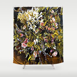 Yellow and Pink Bouquet of Flowes Shower Curtain