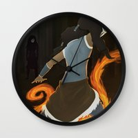 the legend of korra Wall Clocks featuring Korra by charcola