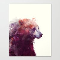 watercolor Canvas Prints featuring Bear // Calm by Amy Hamilton
