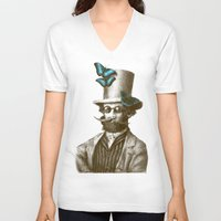 doctor V-neck T-shirts featuring Doctor Popinjay by Eric Fan