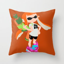 Inkling Girl (Orange) - Splatoon Throw Pillow