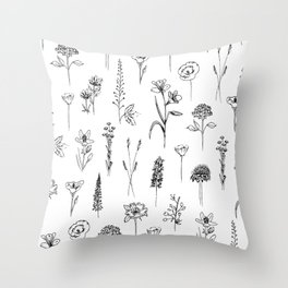 Patagonian wildflowers white Throw Pillow