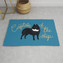 Captain Schipperke (Blue and Beige) Rug