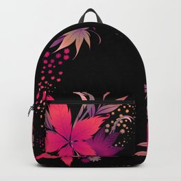 Fuchsia Leaves Floral  Backpack