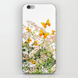 WHITE ART GARDEN ART OF YELLOW BUTTERFLIES iPhone Skin