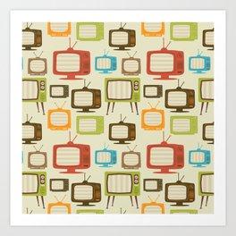 retro TV set pattern background. Vector illustration. Art Print