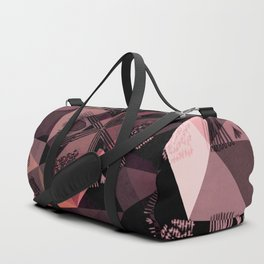 Lavender Red Brown Abstract Geometric Triangle Polygon Seedpod  Illustration Duffle Bag