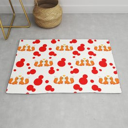 Cute lovely little foxes in love and bold red retro dots nursery pattern design. Hello November. Rug