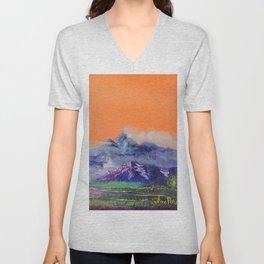 Mountains landscape. Diptych Unisex V-Neck