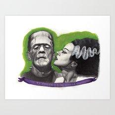 Watercolor Painting of Frankenstein & Bride Art Print