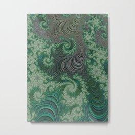 Green Spirals Metal Print