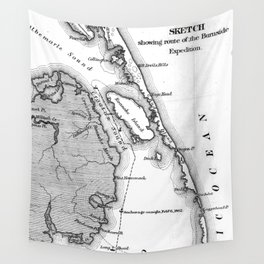 Vintage Map of The Outer Banks (1862) BW Wall Tapestry