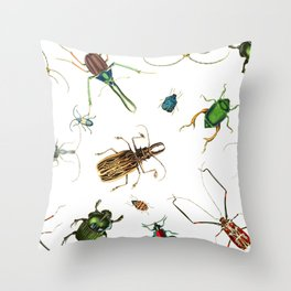 Bug Life - Beetles - Bugs - Insects - Colorful - Insect Pattern Throw Pillow