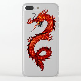Mythical Red Dragon Clear iPhone Case