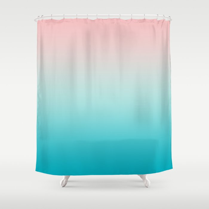 Pastel Ombre Millennial Pink Blue Teal Gradient Pattern Shower Curtain