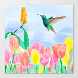Humming bird, roses and tulipanes with leaves on blue. Canvas Print
