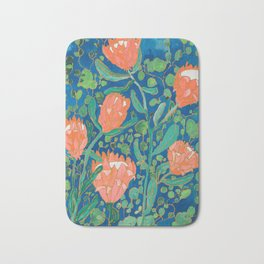 Coral Proteas on Blue Pattern Painting Bath Mat