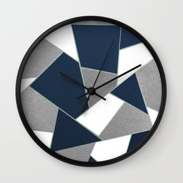 Navy Blue Gray White Mint Geometric Glam #1 #geo #decor #art #society6 Wall Clock