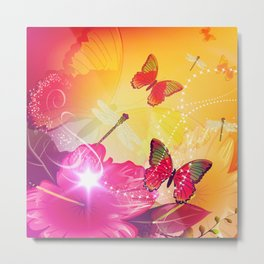 Awesome colorful flowers and butterfly Metal Print